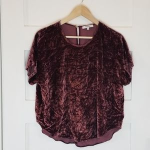 Madewell maroon red velvet silk short sleeve top S